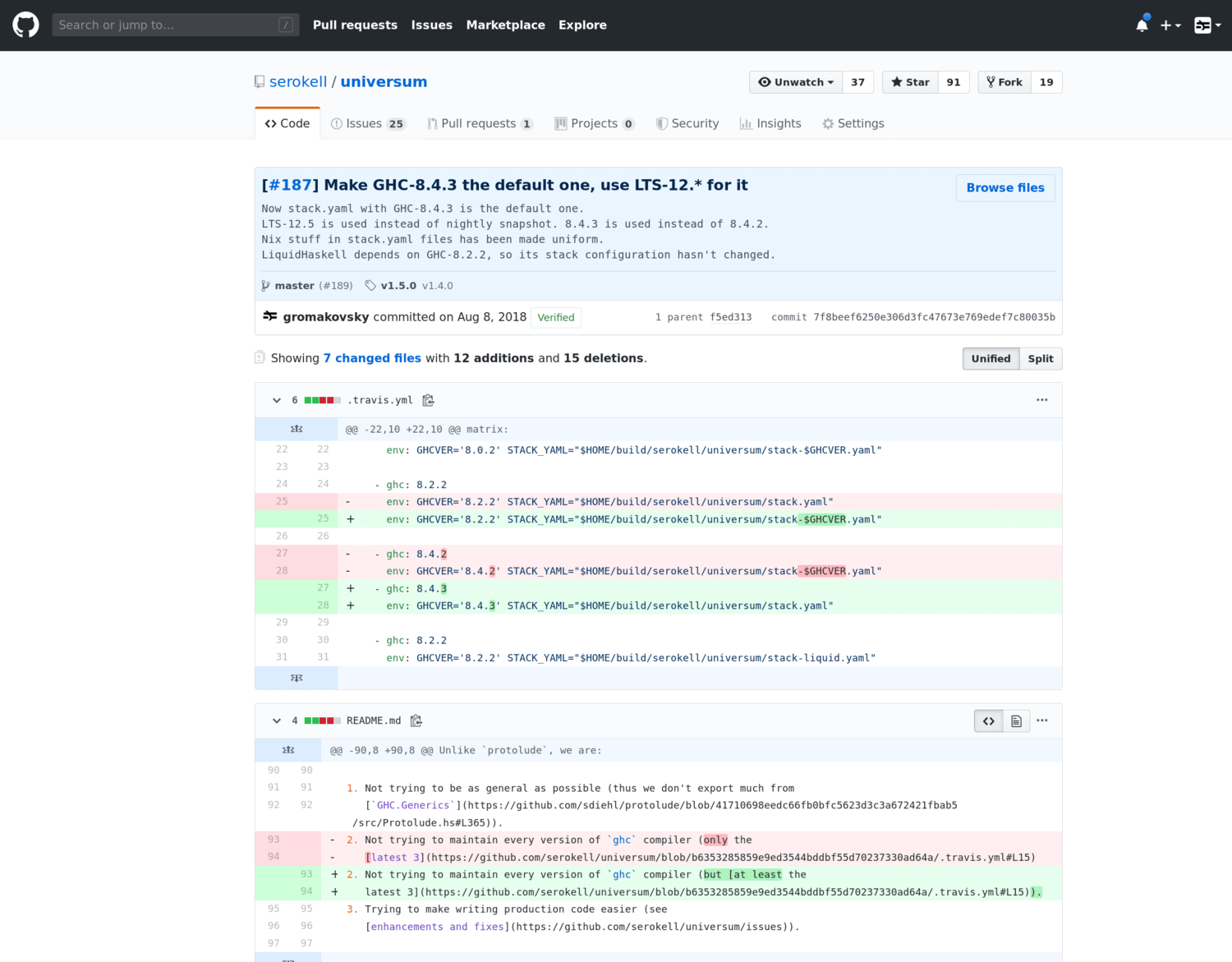 How commits are displayed in GitHub