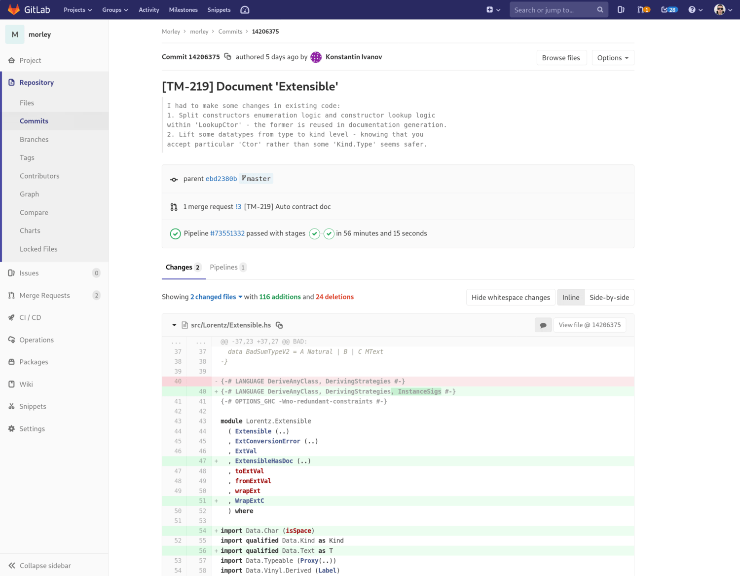 How commits are displayed in GitLab