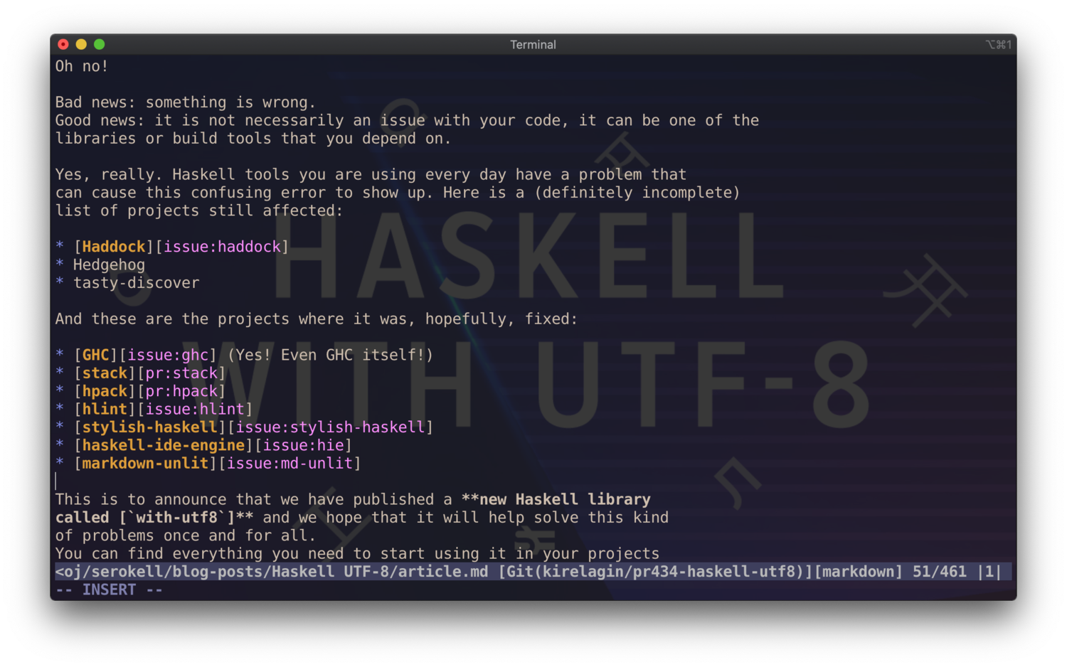 A file encoded as UTF-8 opened in vim